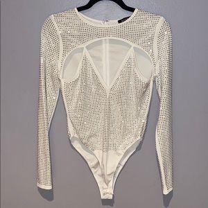 Woman's Banjul White & Silver Studded Bodysuit L